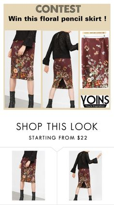 """Yoins contest: Win this floral pencil skirt !"" by amber-nicki-rose ❤ liked on Polyvore featuring women's clothing, women's fashion, women, female, woman, misses and juniors"