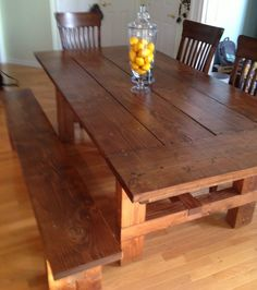 the friendly home: 6' farmhouse table (easier to sit at the ends
