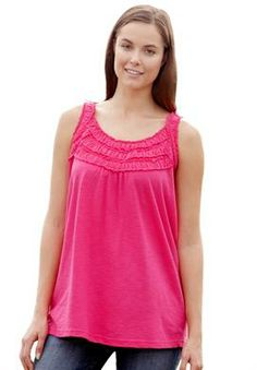 Plus Size Top, tank tunic in soft knit with smocked ruffles - for layering