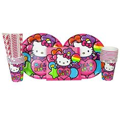 Hello Kitty Party Pack for 16 Guests Straws Plates Napkins and Cups Bundle for 16 * Click on the image for additional details.Note:It is affiliate link to Amazon.