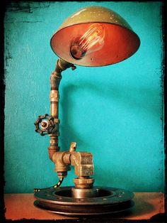 No. 64 - Reclaimed 1920's Gooseneck Lamp Salvaged Automotive Harmonic Balancer Industrial Lamp