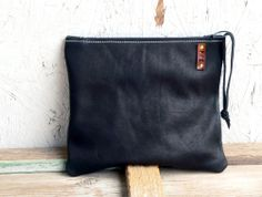 Black Leather Clutch  zippered fold over leather by FeralEmpire, $62.00