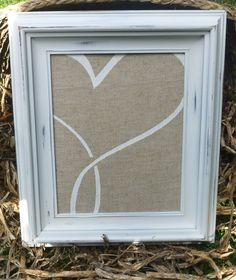 White Shabby Chic Wall Picture Etsy, $25.00 or make it yourself with old frame, some burlap and craft paint!