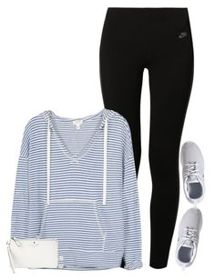 """""""When you have a track meet Thursday, no practice Tuesday and have no idea what your running """" by meljordrum ❤ liked on Polyvore featuring NIKE, Soft Joie and Kate Spade"""