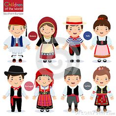 Illustration of Kids in different traditional costumes (Greece, Italy, Portugal, Serbia) vector art, clipart and stock vectors. Fantasias Country, Country Costumes, Around The World Theme, World Thinking Day, Book Projects, Drawing For Kids, Paper Dolls, Vector Free, Kids Vector