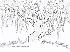 Wisteria Willow Tree Q Tip - The Art Sherpa Community Q Tip Painting, Acrylic Painting For Beginners, Painting Videos, Painting & Drawing, Weeping Willow, Willow Tree, Tree Drawings Pencil, Art Drawings, Art Sketches