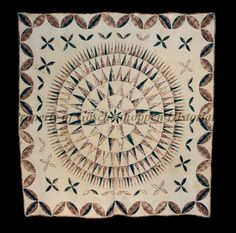 Image of Artifact Antique Quilts, Vintage Quilts, Mariners Compass, Medallion Quilt, Cross Hatching, Foundation Paper Piecing, Diamond Cross, Floral Stripe, Flower Making