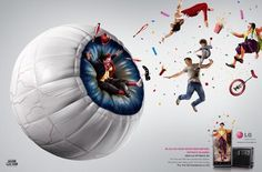 """LG is promoting the LG Optimus 3G phone in Brazil with an advertising campaign focusing on 3D vision. Two print advertisements show giant eyeballs as settings for circus and wedding fun. """"Cyclops"""", a television commercial, shows one-eyed optometrists who discover the marvels of the 2-lens camera on the Optimus."""