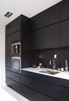Modern Black Kitchen Cabinets Design Ideas For Inspiration Black Ikea Kitchen, Black Kitchen Cabinets, Kitchen Cabinet Design, Black Kitchens, Modern Kitchen Design, White Cabinets, Home Decor Kitchen, Kitchen Interior, Home Interior Design