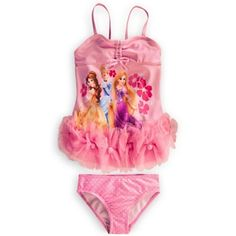 Disney Store Deluxe Princess Pink Swimuit Rapunzel Belle Cinderella (M 7-8 Medium). Authentic Disney Store Product & Quality. Rapunzel, Cinderella, Belle Screen Art. 82% polyester/18% spandex body with polyester lining. SPF 50+ for excellent UV protection.
