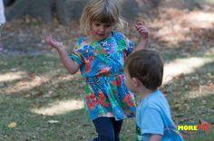 Sofia and Hamish dancing at the MoreFM Easter Egg Hunt