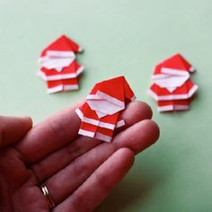 Add tiny folded Santas to gift tags, cards, and more.