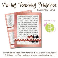 Monthly visiting teaching printables!  Guess what my sisters are getting this month.  I love this idea.