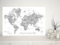 Jimmy: Mapamundi personalizado para marcar viajes, tonos grises de acuarela (etiquetas en español) #EscalaDeGrises #CitaPersonalizada #mapa #aventureros #gris #corchera #MapaDelMundo #corkboard #castellano #aventura #MapaMundiTipoCorcho #acuarela #BlancoYNegro #CiudadesEnEspañol #español
