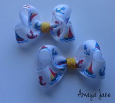 Sailboat Hair Bows { Amaya Jane Accessories }