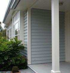 Resene Periglacial Blue and quarter spanish white on exterior