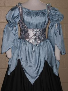 DDNJ Renaissance Pirate Fairy Gypsy Wench Silk Chemise Costume Choose Color Custom Made Your Measurements