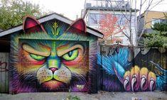 Cats in Art and Illustration: Street art - Murals - Graffiti : Definitions - Examples - Lesson plans - Listening - PowerPoint presentations - Videos - ESL Resources 3d Street Art, Murals Street Art, Amazing Street Art, Art Mural, Street Artists, Amazing Art, Banksy, Graffiti Art, Art Toronto