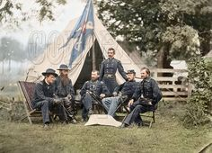 Union Generals Wesley Merritt, David McMurtrie Gregg, Philip Sheridan, Henry E. Davies, James H. Wilson, & Alfred Thomas Archimedes Torbert