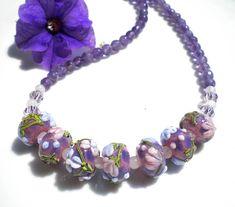 Lampwork Beaded Artisan Necklace Murano Venetian Glass Amethyst Semi-Precious Gemstones