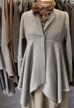 New York Jacket in herringbone cashmere over Long Tie Shirt.