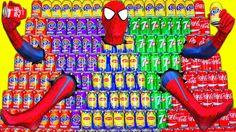 COCA COLA FANTA SPRITE Pyramid WALL CHALLENGE! Spiderman Joker Spidergir...