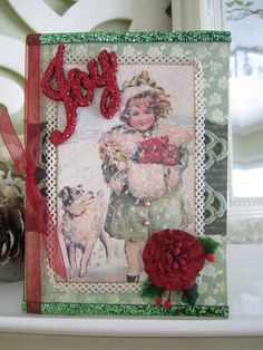 Handmade Christmas Card Christmas Joy Card Mixed by AvantCarde