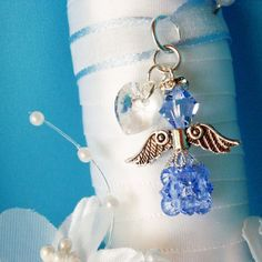 Something Blue Wedding Bouquet Charm, Swarovski Crystal Angel Bridal Bouquet Charm, Something Blue Gift Wedding Bouquet Charms, Bridal Bouquet Blue, Wedding Bouquets, Charms Swarovski, Swarovski Crystals, Angel Bridal, Something Blue Bridal, Blue Crystals, Bridal Accessories