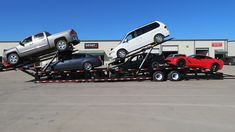 NEW LOW PRO 5 Car Hauler Trailer Comes with TWO hydraulic tilt decks with hydraulic ramps and tandem duals gives you of loading capacity. Custom Trailers, Trailers For Sale, Car Hauler Trailer, Hydraulic Cars, Trailer Manufacturers, Gooseneck Trailer, Car Carrier, Road Conditions, Hot Shots