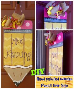 DIY Wooden Pencil Sign Personalized - step by step tutorial from drawing the pencil outline, to cutting the wood and painting it. Teacher Door Hangers, Teacher Doors, Teacher Signs, Teacher Stuff, Pencil Door Hanger, Teacher Wreaths, School Wreaths, Wooden Pencils, Teacher Appreciation Gifts
