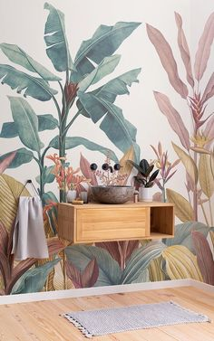 American Home Interior These beautiful wall murals are inspired by the most popular botanical artist in history.American Home Interior These beautiful wall murals are inspired by the most popular botanical artist in history B&q Wallpaper, Watercolor Wallpaper, Bathroom Wallpaper, Pattern Wallpaper, Wallpaper Ideas, Vintage Wallpaper, Art Watercolor, Mural Art, Wall Murals