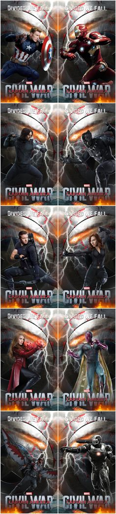 NEW 'CIVIL WAR' CHARACTER POSTERS!  Not 100% sure whether these are official or fan-art but they're cool either way!