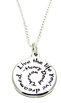 Inspirational Jewelry Necklace Sterling Silver Henry David Thoreau Live The Life Youve Dreamed Quote *** See this great product.Note:It is affiliate link to Amazon.