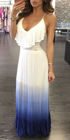 summer outfits Gradient Color Frilled Maxi Slip Dress