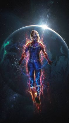 Captain Marvel in Space iPhone Wallpaper - iPhone Wallpapers Avengers Quotes, Avengers Imagines, Avengers Cast, Marvel Avengers, Avengers Poster, Marvel Girls, Marvel Fan, Marvel Heroes, Marvel Universe