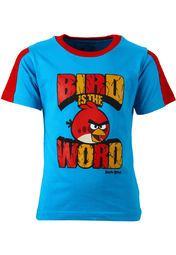 A blue coloured T-shirt for boys from Angry Birds. Made from cotton, this printed T-shirt features regular fit, half sleeves and a round neck.