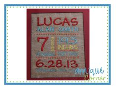 Subway Art Template Embroidery Design- template with lines and dots only; great for baby gifts