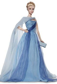 "Grace Kelly Barbie– The Romance™ series — blue chiffon dress with flowing scarf from the 1955 Hitchcock movie, ""To Catch A Thief""."