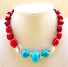 Coral and turquoise gemstone necklace, chunky!