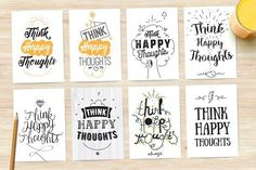 Inspirational quote, 8 cards set. by pa3x on @creativemarket