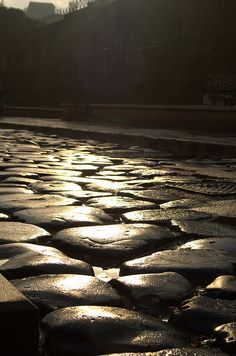 Black and wet cobblestones, Rome, Italy by Gloria Huang.