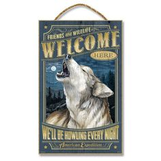 These exciting large wooden signs are handcrafted. The full color art print is laminated onto a sturdy wooden plaque and affixed with a heavy-duty twine rope for hanging. Wooden Plaques, Wooden Signs, Gray Wolf, All Wall, Wall Hooks, Metal Wall Art, Vintage Advertisements, Wood Construction, Framing Materials