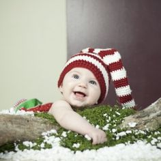 Darling set up for baby Christmas pictures with simple handmade props.