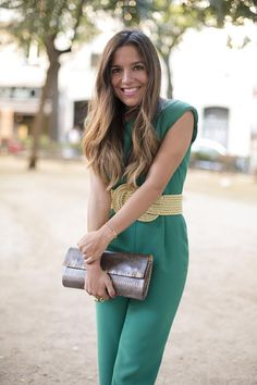 Green jumpsuit & Giveaway | PEEPTOES