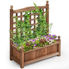 Planter Box With Trellis, Wooden Trellis, Garden Planter Boxes, Wood Planter Box, Planter Box Plans, Wooden Garden Planters, Long Planter Boxes, Cedar Trellis, Raised Planter Boxes