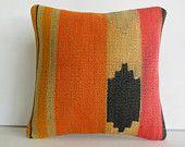 "16""Turkish cushion pink black orange ethnic tribal pillow decorative throw pillow kilim pillow cover decorative pillow accent pillow sham"