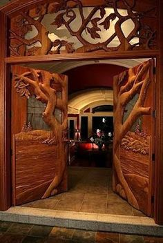 Check out the ornate wood carving on this doorway.