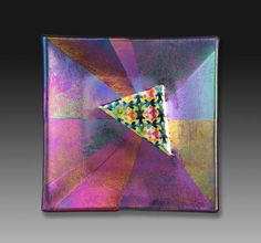 Dichroic And Irridized Triangle Plate - by Snowflake Glass