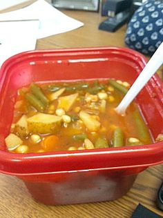 Simple Crockpot Vegetable Soup. Would need to make some modifications to make it work for me, but sounds yummy!