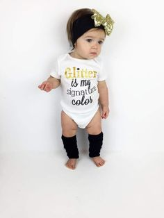 FREE SHIPPING in the USA Who is shopping for a baby or toddler girl? Look no further! You've come to the right place! Liv & Co.™️ brings you the best baby & kids apparel & this adorable 'Glitter is my signature color' baby girl outfit & toddler girl t-shirt surely will not disappoint!